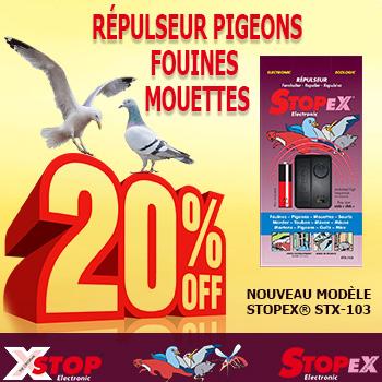 Répulseur pigeons et mouettes - Nouveau modèle STOPEX