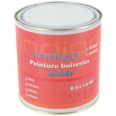Peinture satin e pour boisseries corail 500 ml indigo for Peinture satinee ou brillante