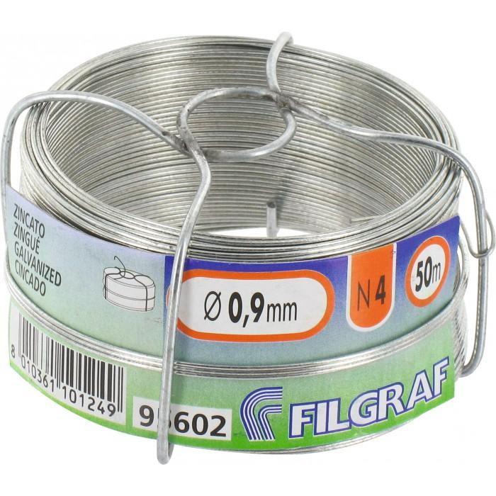 Ø 0.8 mm 50 m Fil d/'attache Filgraf Plastifié Blanc