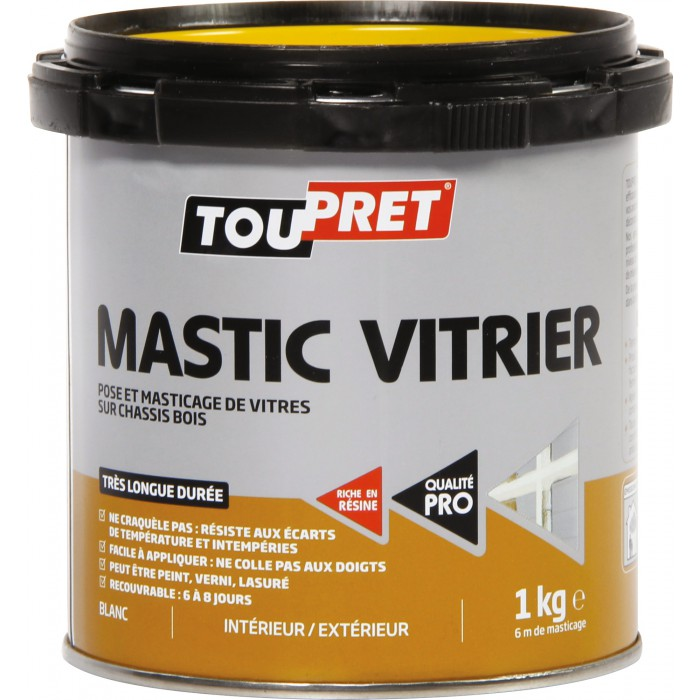 mastic blanc pour pose de vitres 1 kg toupret articles quincaillerie. Black Bedroom Furniture Sets. Home Design Ideas