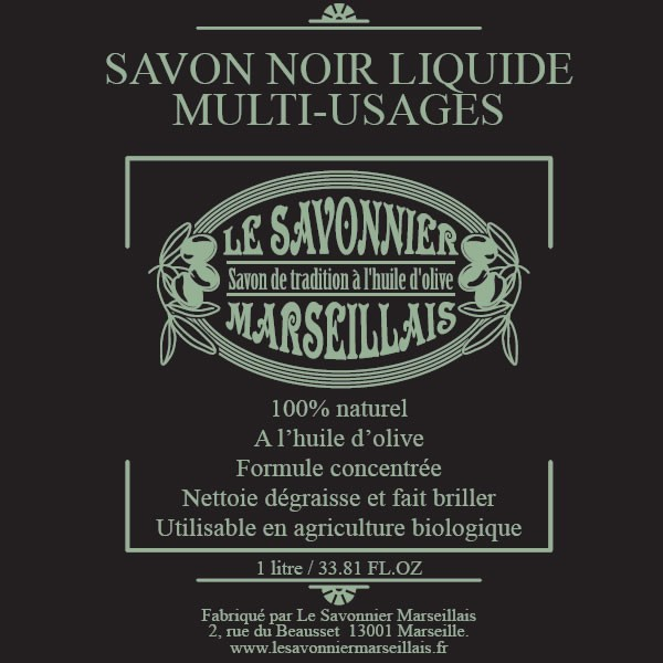 savon noir liquide multi usages 1 l le savonnier marseillais. Black Bedroom Furniture Sets. Home Design Ideas