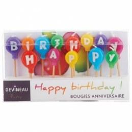 Bougies d'anniversaire - Lettres pour HAPPY BIRTHDAY - DEVINEAU