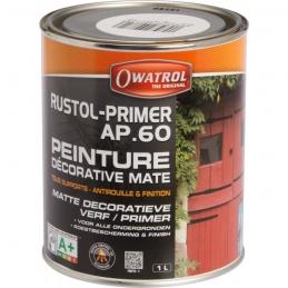 Sous-couche antirouille - Primaire Mat - Noir - Rustol-PRIMER AP.60 - 1 L - OWATROL