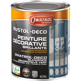 Peinture décorative brillante - Antirouille et finition - Noir - 750 ml - OWATROL