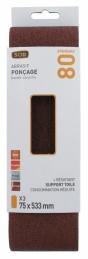 Bande pour ponçeuse - Grain 80- 75 x 533 mm - Lot de 3 pièces - SCID