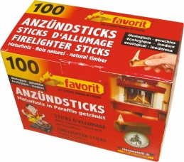 Stick d'allumage en bois naturel - 100 sticks - FAVORIT