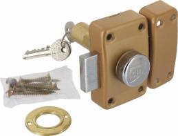Verrou de sureté pour porte bois - A bouton - Cylindre 60 mm - CITY