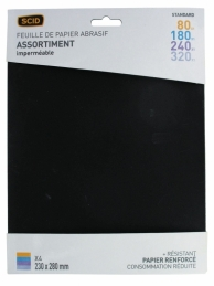 Assortiment de papier abrasif imperméable - 230 x 280 mm - Grain 80, 180, 240, 320 - Lot de 4 - SCID