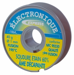 Bobine soudure étain 60 % - 1 mm - 40 Grs - EXPRESS