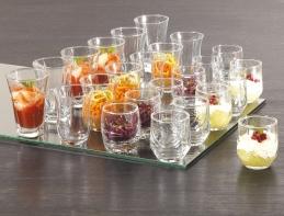 Coffret de 24 amuse-bouche en verre transparents - 4 formes
