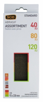 Patin abrasif avec fixation pince 93 x 230 mm - 8 trous - Grain 40/80/120 - SCID