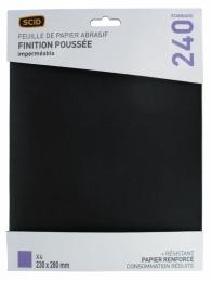 Papier abrasif imperméable - 230 x 280 mm - Grain 240 - Lot de 4 - SCID