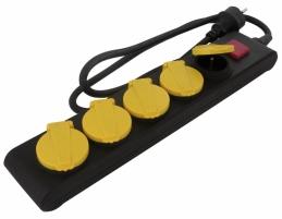 Bloc multiprise étanche IP44 - Bouchons et interrupteur - 5 prises - DHOME