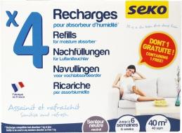 4 sachets de recharge pour absorbeur d'humidité - Parfum neutre - SEKO