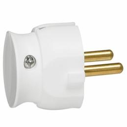Fiche plastique 2P 16A extra-plate à sortie latérale - Blanc - LEGRAND