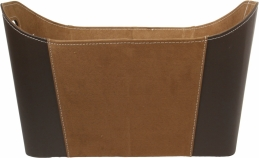 Panier à bûches en simili cuir - Marron - 50 cm - PVM