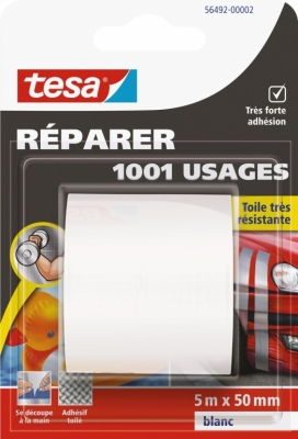 Ruban adhésif réparation - 1001 usages - 5 M x 50 mm - Blanc - TESA