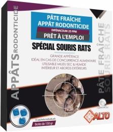 Appât raticide et souricide - Pâtes fraîches - Difénacoum - 150 grs - ALTO