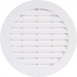 Grille d'aération ronde avec moustiquaire - 174 mm - Blanc - GIRPI