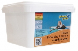 Chlore désinfectant bi-couche - 4 actions - Action choc - PLANET POOL