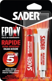 Colle époxy rapide - 2 tubes 15 ml - SADER