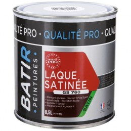 Peinture laque - Blanc - Glycéro - 0.5 L - Aspect satiné - BATIR