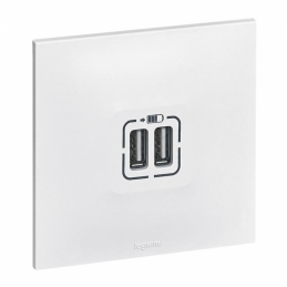 Double chargeur USB Neptune - Blanc - LEGRAND