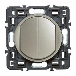 Double interrupteur ou va-et-vient Céliane Soft - 10 A - Titane - LEGRAND