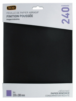 Papier abrasif imperméable - 230 x 280 mm - Grain 1000 - Lot de 4 - SCID