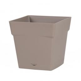 Pot à fleur carré - soucoupe clipsée réserve d'eau - Gamme Toscane - 3.4 L - Taupe - EDA