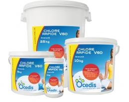 Chlore rapide V60 - Chlore stabilisé et rapide en granulé - 5 Kg - OCEDIS