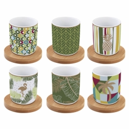 Coffret de 6 tasses à café Tropical - Coffee Mania - Porcelaine - EASY LIFE