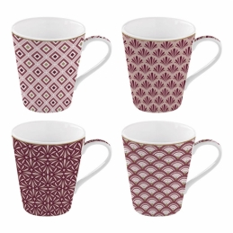 Coffret de 4 tasses à café Damask - Coffee Mania - Porcelaine - EASY LIFE