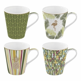 Coffret de 4 tasses à café Tropical - Coffee Mania - Porcelaine - EASY LIFE