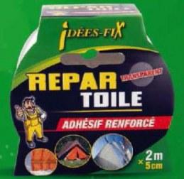 Adhésif renforcé - Repar'Toile - Transparent - 2 m x 5 cm - IDEES FIX