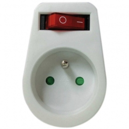 Fiche avec interrupteur - 2P + T - Blanc - DHOME