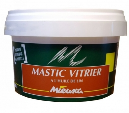 Mastic vitrier à l'huile de lin - Beige - origine naturelle - 1 Kg - MIEUXA