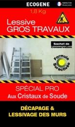 Lessive spécial gros travaux - Cristaux de soude - 1.8 Kg - ECOGENE