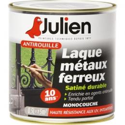 Laque métaux ferreux antirouille - Noir satiné - 500 ml - JULIEN