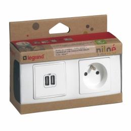 Prise + chargeur 2 USB avec plaque Niloé + boite à encastrer - Eclat - LEGRAND