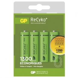 4 piles rechargeables - Recyko 130AAHCE-2FRB4 / AA - GP