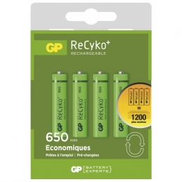 4 piles rechargeables - Recyko 65AAAHCE-2FRB4 / AAA - GP