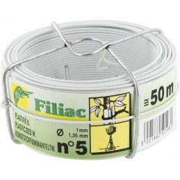 Bobinots fil attache - Acier galvanisé plastifié - Blanc - 50 M - FILIAC