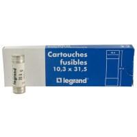 Cartouche domestique cylindrique - 20 A - 31.5 x 10.3 mm - Avec voyant - Lot de 10 - LEGRAND