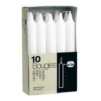 Bougies blanches cylindriques droites - Boîte de 10 - DEVINEAU