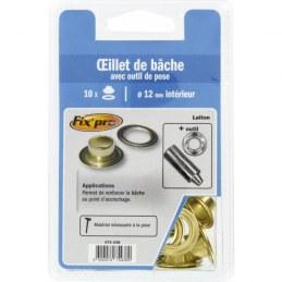 Œillet de bâche + outil de pose Fix'Pro - Diamètre Intérieur 12 mm - Vendu par 10 - FIX'PRO