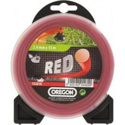 Fil rond pour débrousailleuse - Nylon - RED - 2.4 mm x 15 M - OREGON