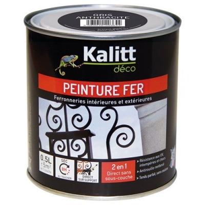 Peinture spécial Fer - Gris anthracite - Brillant - 0.5 L - KALITT