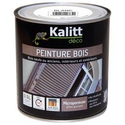 Peinture bois - Microporeuse - Satin - Blanc - 0.5 L - KALITT