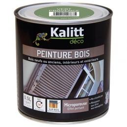 Peinture bois - Microporeuse - Satin - Vert provence - 0.5 L - KALITT